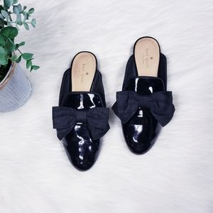 Kate Spade patent leather bow mules
